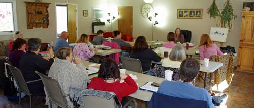 Dr. Power teaching Aromatherapy Workshop in Classroom at her farm, Wyldhaven
